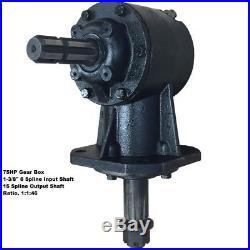 75HP Rotary Cutter Gear Box. 1-3/8 6 spline input & 15 spline output, 1146