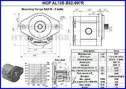 Hydraulic Gear Pump 3-12 GPM 13 Tooth Spline Shaft SAE B-2 Bolts CW Aluminium