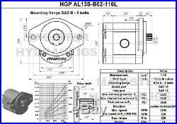 Hydraulic Gear Pump 4-15 GPM 13 Tooth Spline Shaft SAE B-2 Bolts CCW Aluminium