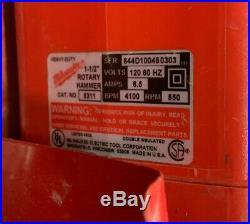 MILWAUKEE THUNDERBOLT SPLINE ROTARY HAMMER DRILL CAT. 5311 1-1/2 With CASE & BITS