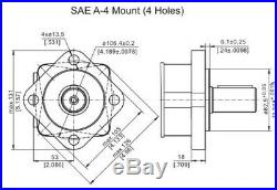 M+S Hydraulic Motor MS 100 cc/rev Shaft 6 Splined PTO 34,85 Side Ports G 1/2