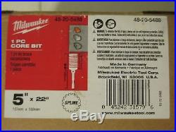 Milwaukee 48-20-5488 CONCRETE DRILLING Core Bit 5in x 22in Spline Shank New