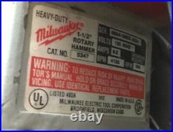Milwaukee 5347 Spline Bit 1-1/2 Rotary Hammer Drill & Chipping Hammer 120V