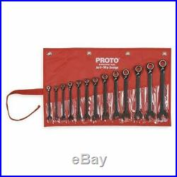 PROTO JSCVM-13S 13 Piece Black Chrome Reverse Combo Ratcheting Wrench Set-Spline