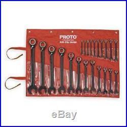PROTO JSCVM-22S 22 Piece Black Chrome Reverse Combo Ratcheting Wrench Set-Spline