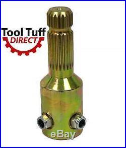 PTO Spline Adaptor 1-3/8 x 21 male x 1-3/4 x 20 Female Extends 4-5/8 Screw Lock