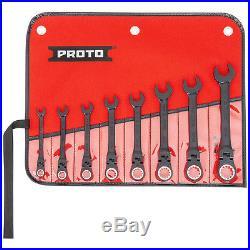 Proto JSCVF-8S Spline Combination Locking Flex-Head Ratcheting Wrench Set 8pc