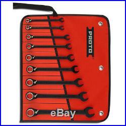 Proto JSCV-9S Black Spline Reversible Combination Ratcheting Wrench Set 9pc