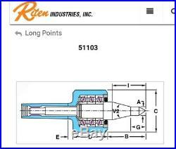 Riten Long Point Live Center MT3 USA 51103 Spline Rolling Live Centers